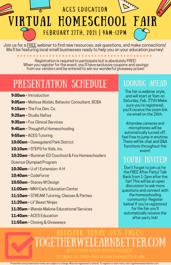 Virtual Homeschool Fair Presentation Schedule